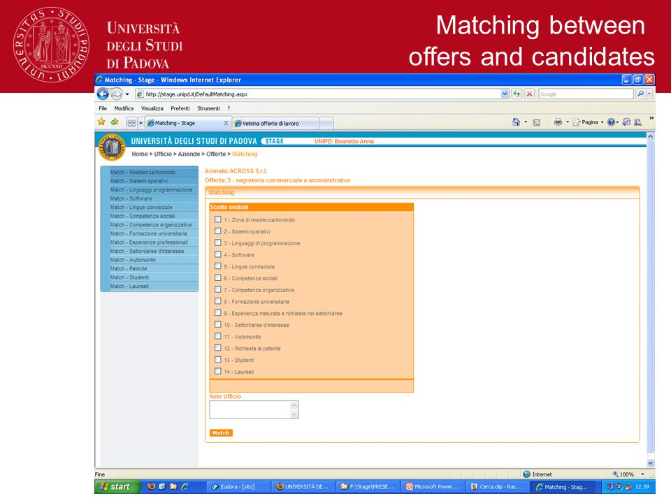 Matching between offers and candidates