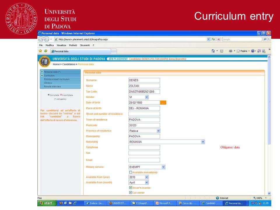 Curriculum entry