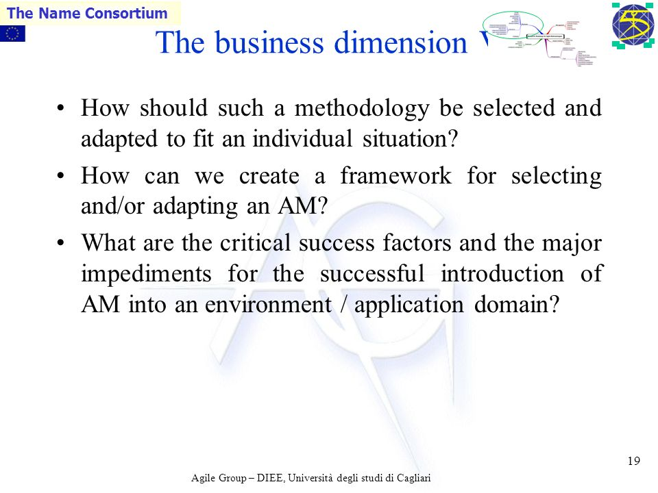 Agile Group – DIEE, Università degli studi di Cagliari The Name Consortium 18 The business dimension IV What are the attitudes of clients towards AMs.