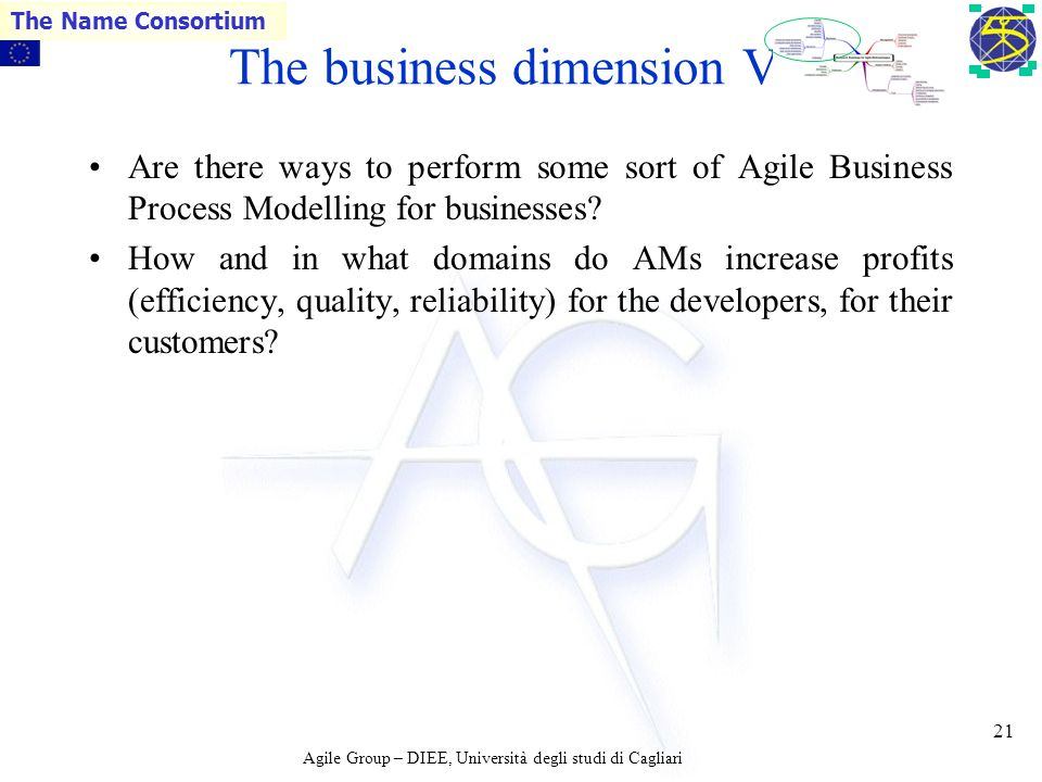 Agile Group – DIEE, Università degli studi di Cagliari The Name Consortium 20 The business dimension VI How and to what extent can we transfer experience from an AM project to another AM project, taking into account the fact that AM are human intensive.