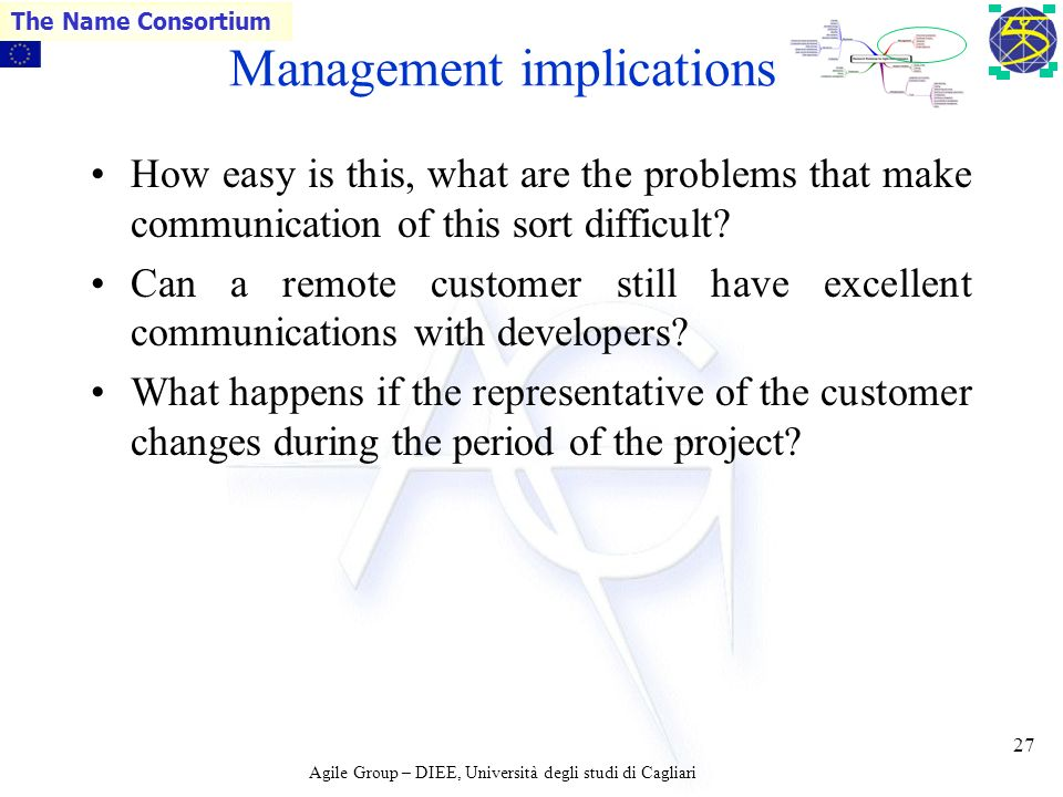 Agile Group – DIEE, Università degli studi di Cagliari The Name Consortium 26 Management implications IV AMs talk a lot about customers Who are the customers and where are they.