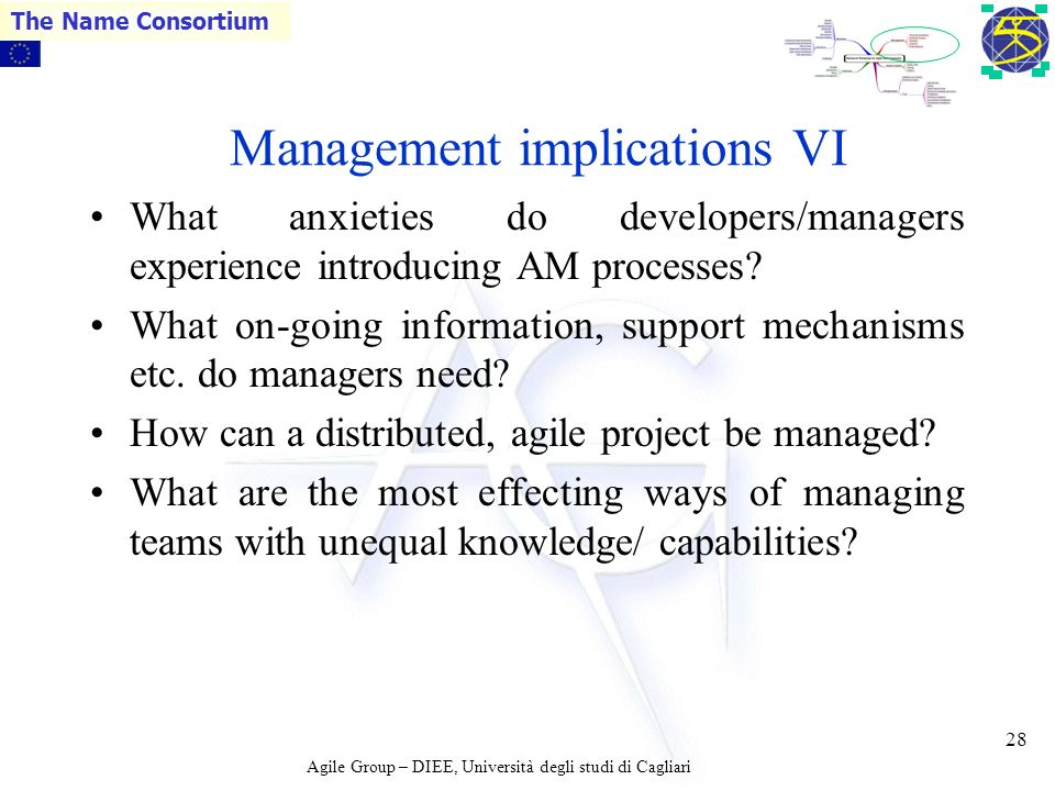 Agile Group – DIEE, Università degli studi di Cagliari The Name Consortium 27 Management implications V How easy is this, what are the problems that m