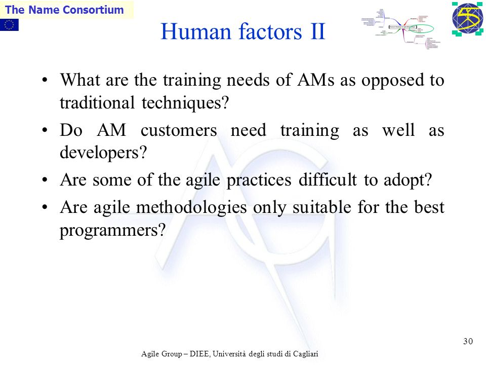 Agile Group – DIEE, Università degli studi di Cagliari The Name Consortium 29 Human factors I What are the cultural perspectives in software developme