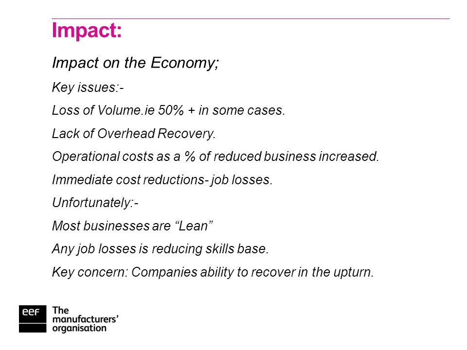 EEF: Reacting to the Crisis. 2 nd Oct 09 Update : Recession : Impact and Priorities.