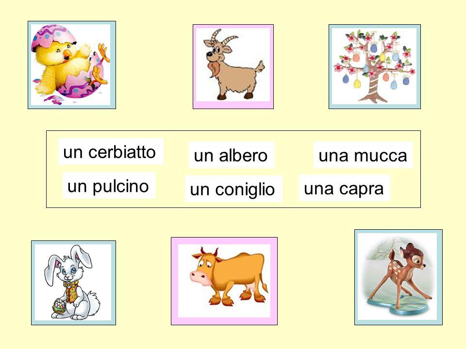 una mucca un albero un coniglio un pulcino un cerbiatto click on picture to reveal