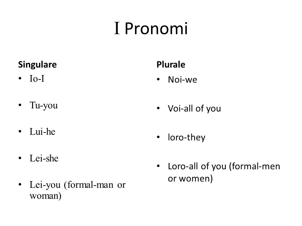 I Pronomi Singulare Io-I Tu-you Lui-he Lei-she Lei-you (formal-man or woman) Plurale Noi-we Voi-all of you loro-they Loro-all of you (formal-men or women)
