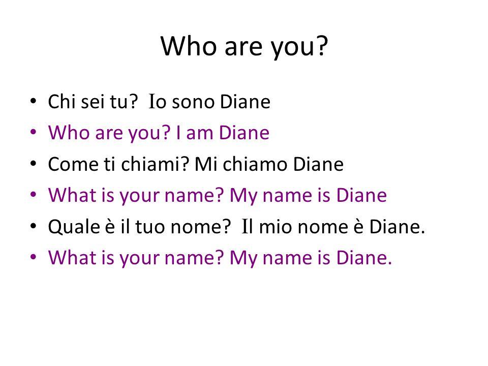 Who are you? Chi sei tu? I o sono Diane Who are you? I am Diane Come ti chiami? Mi chiamo Diane What is your name? My name is Diane Quale è il tuo nom