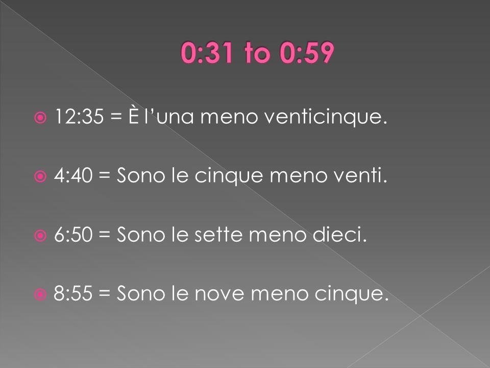 12:35 = È luna meno venticinque. 4:40 = Sono le cinque meno venti.