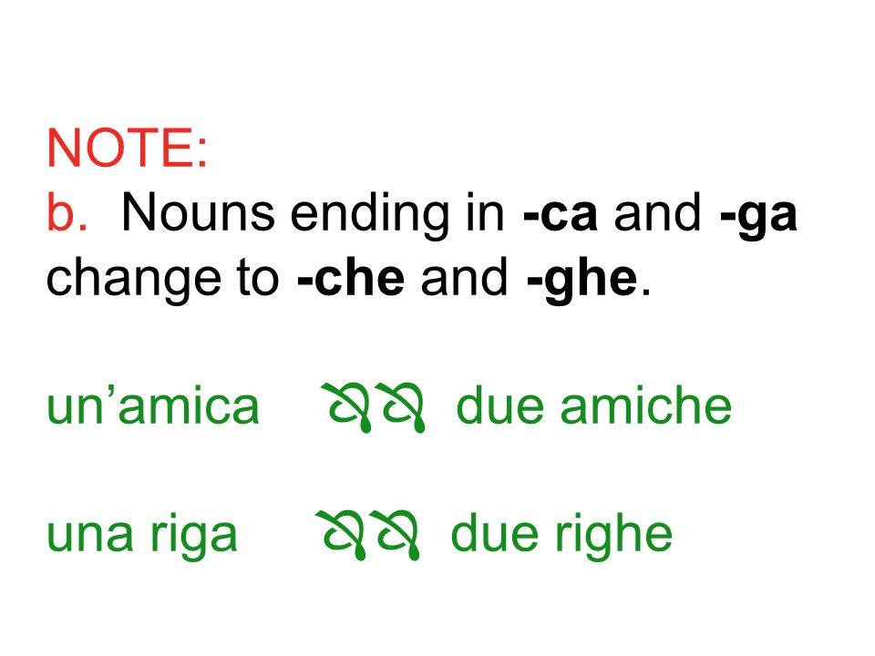 NOTE: b. Nouns ending in -ca and -ga change to -che and -ghe. unamica due amiche una riga due righe