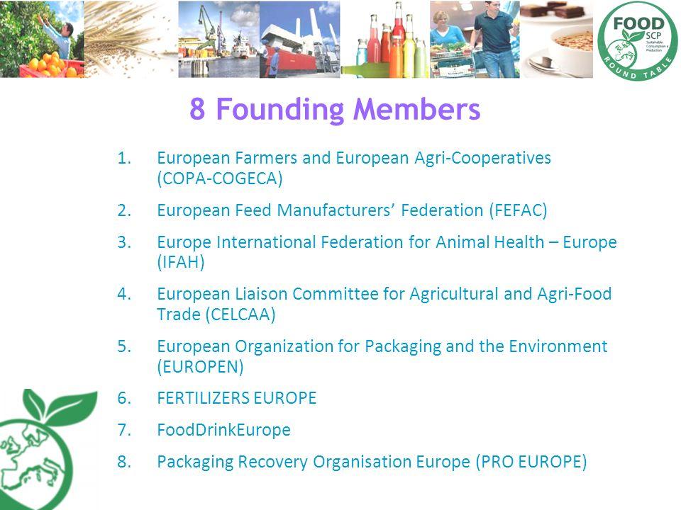 8 Founding Members 1.European Farmers and European AgriCooperatives (COPACOGECA) 2.European Feed Manufacturers Federation (FEFAC) 3.Europe Internation