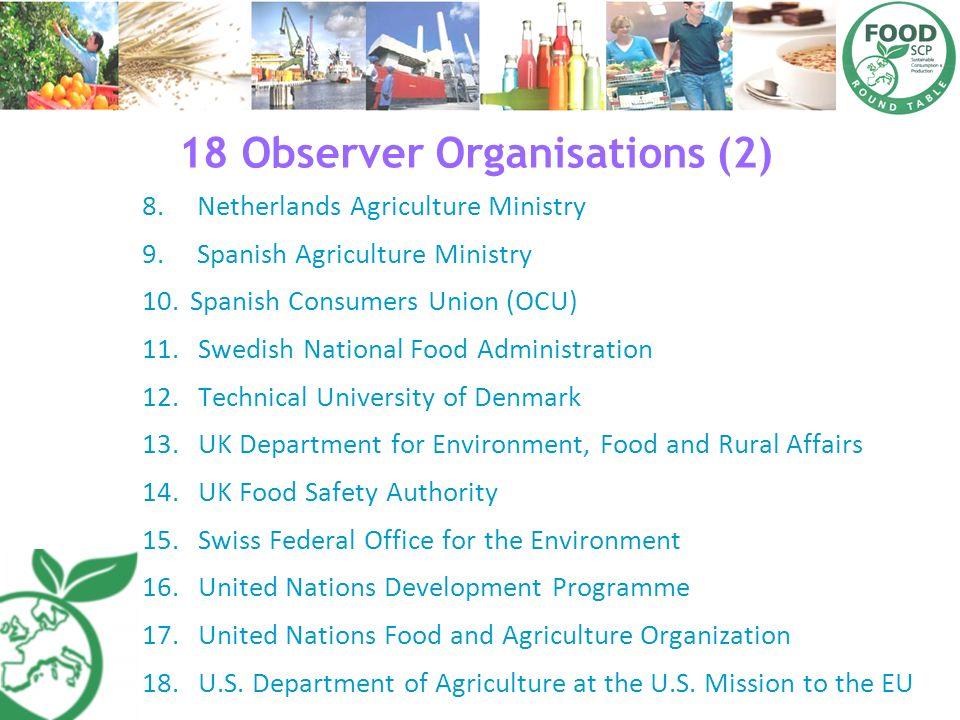 18 Observer Organisations (2) 8. Netherlands Agriculture Ministry 9. Spanish Agriculture Ministry 10.Spanish Consumers Union (OCU) 11.Swedish National