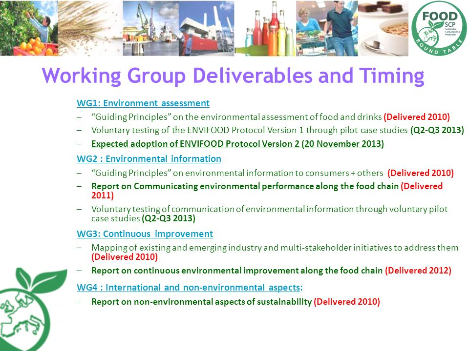 Working Group Deliverables and Timing WG1: Environment assessment –Guiding Principles on the environmental assessment of food and drinks (Delivered 20