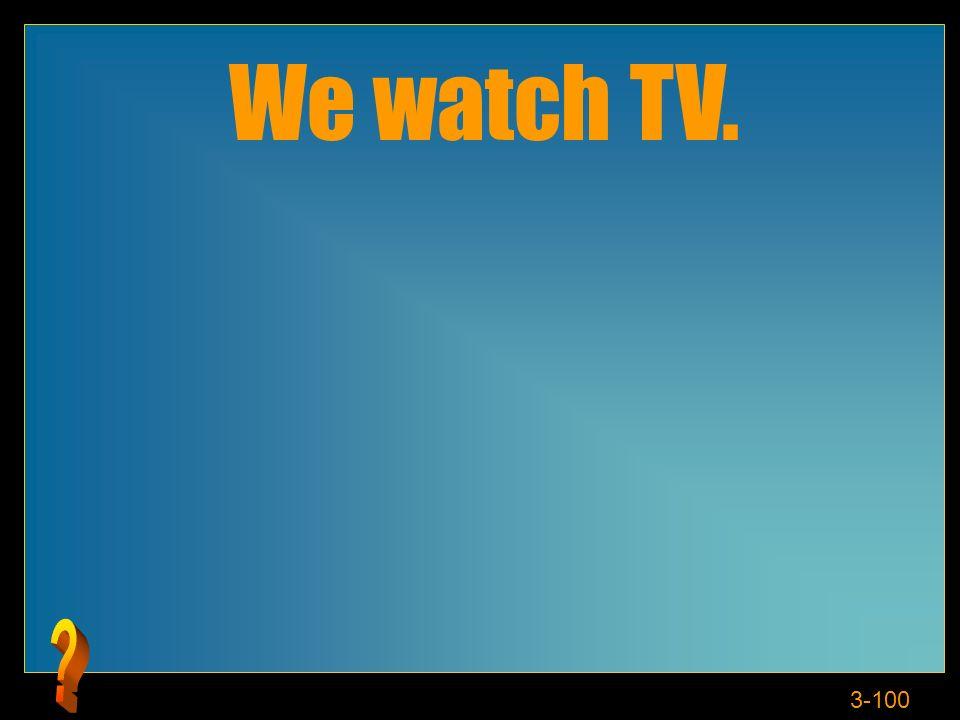 3-100 We watch TV.