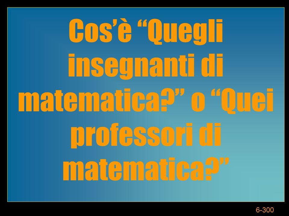 6-300 Cosè Quegli insegnanti di matematica o Quei professori di matematica