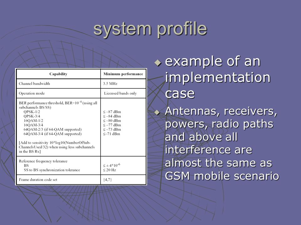 system profile example of an implementation case example of an implementation case Antennas, receivers, powers, radio paths and above all interference are almost the same as GSM mobile scenario Antennas, receivers, powers, radio paths and above all interference are almost the same as GSM mobile scenario