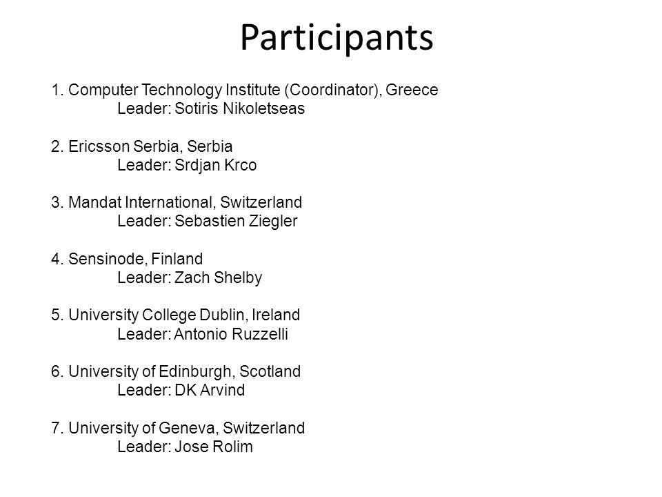1. Computer Technology Institute (Coordinator), Greece Leader: Sotiris Nikoletseas 2. Ericsson Serbia, Serbia Leader: Srdjan Krco 3. Mandat Internatio