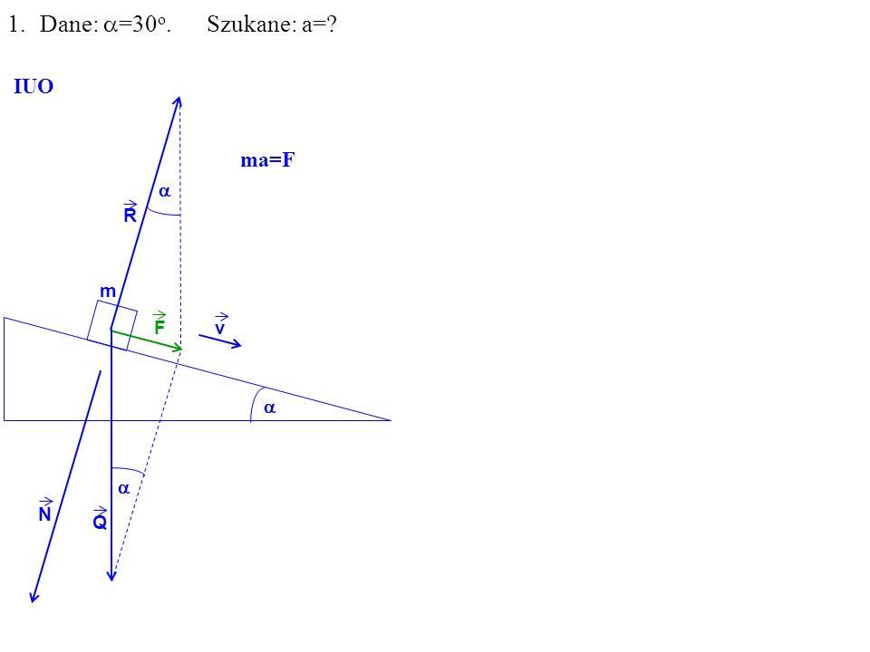 Q R N F m 1.Dane: =30 o. Szukane: a= IUO v ma=F