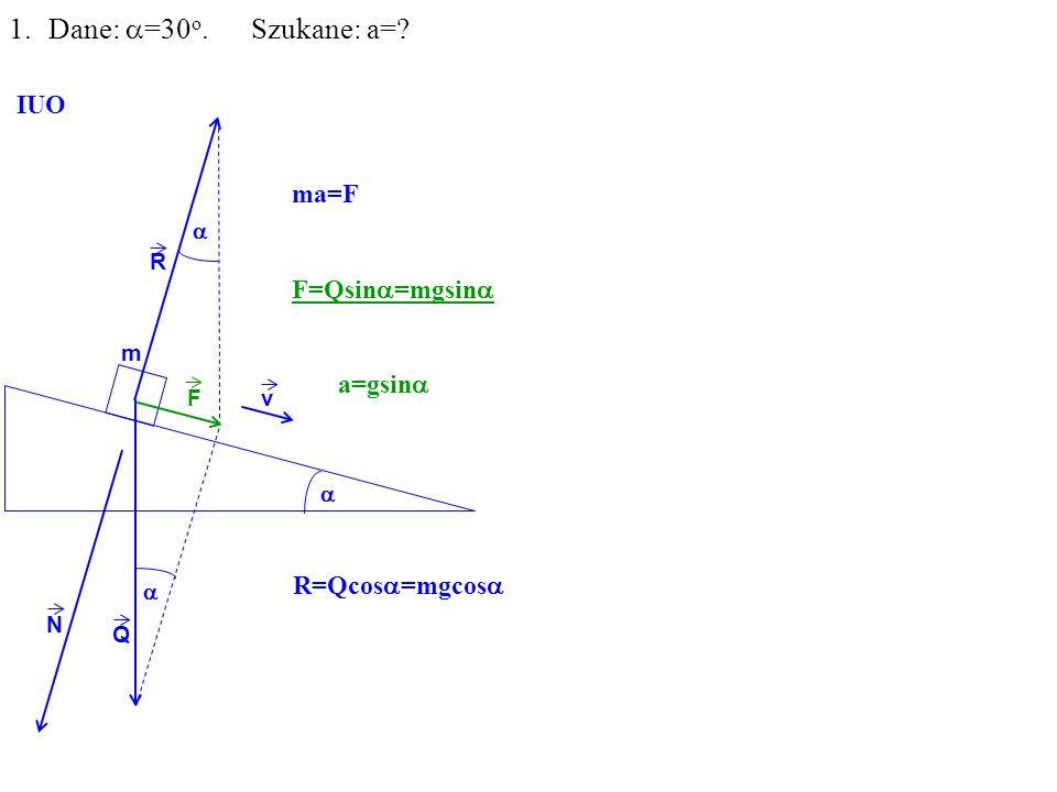 Q R N F m 1.Dane: =30 o. Szukane: a= IUO ma=F F=Qsin =mgsin a=gsin v R=Qcos =mgcos