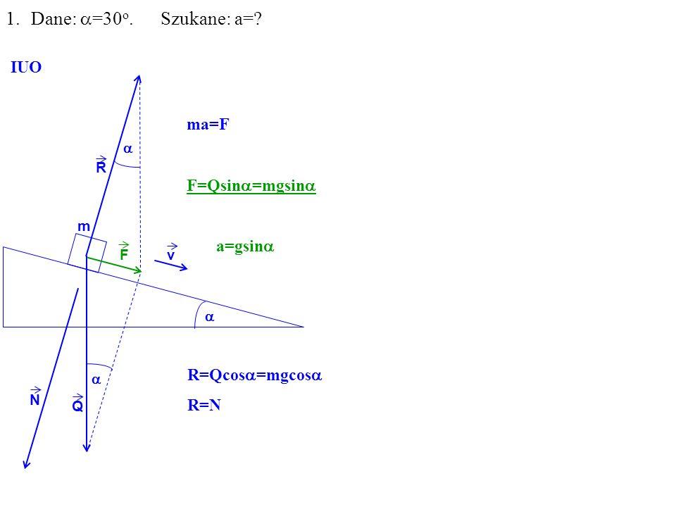 Q R N F m 1.Dane: =30 o. Szukane: a= IUO ma=F F=Qsin =mgsin a=gsin v R=Qcos =mgcos R=N