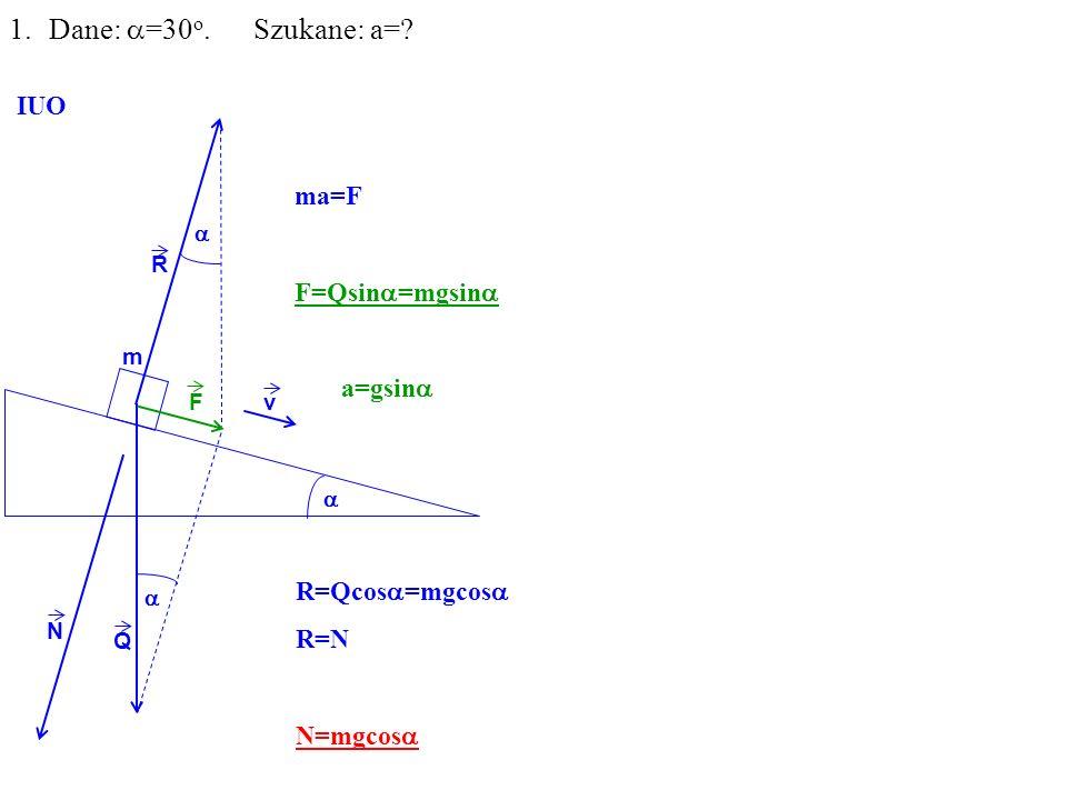 Q R N F m 1.Dane: =30 o. Szukane: a= IUO ma=F F=Qsin =mgsin a=gsin R=Qcos =mgcos R=N N=mgcos v