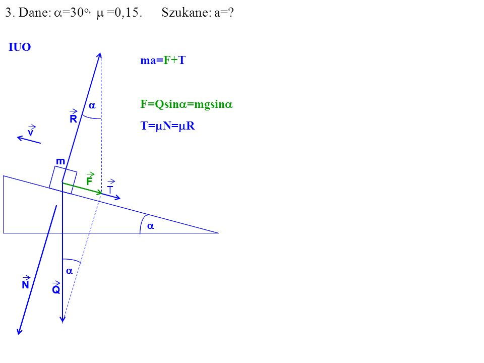 v Q R N F m IUO T ma=F+T F=Qsin =mgsin T= N= R Q R N F m IUO 3. Dane: =30 o, =0,15. Szukane: a=