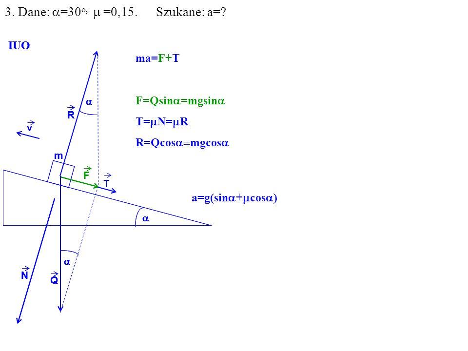 v Q R N F m IUO T ma=F+T F=Qsin =mgsin T= N= R R=Qcos mgcos Q R N F m IUO 3.