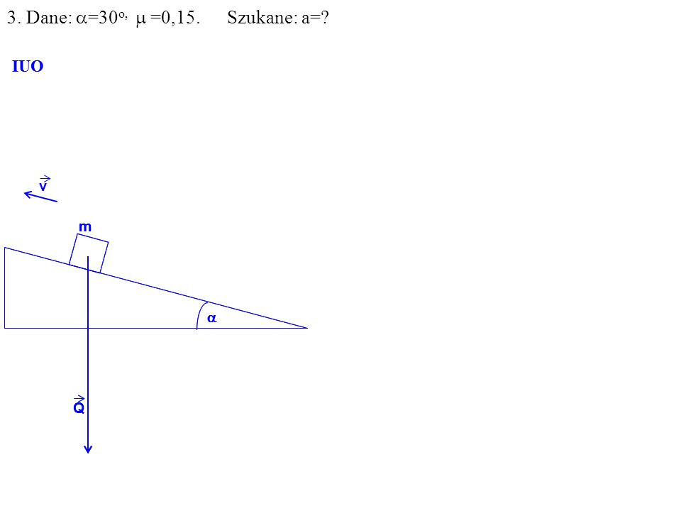 v Q m IUO Q m IUO 3. Dane: =30 o, =0,15. Szukane: a=