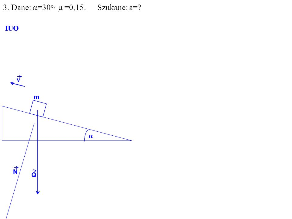 v Q N m IUO Q N m IUO 3. Dane: =30 o, =0,15. Szukane: a=
