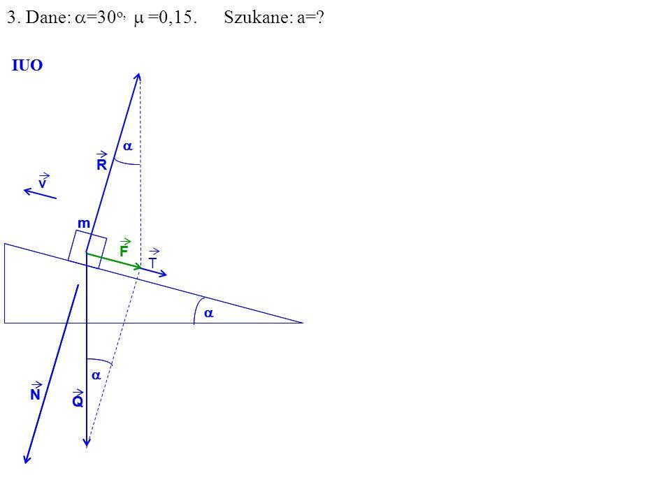 v Q R N F m IUO T Q R N F m IUO 3. Dane: =30 o, =0,15. Szukane: a=