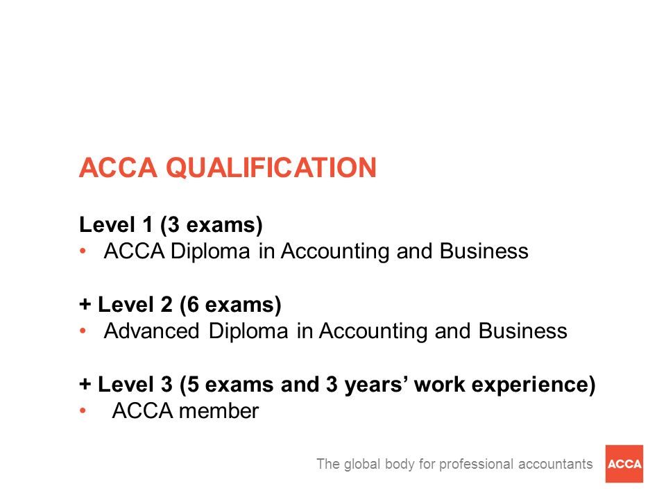 The global body for professional accountants ACCA QUALIFICATION Level 1 (3 exams) ACCA Diploma in Accounting and Business + Level 2 (6 exams) Advanced