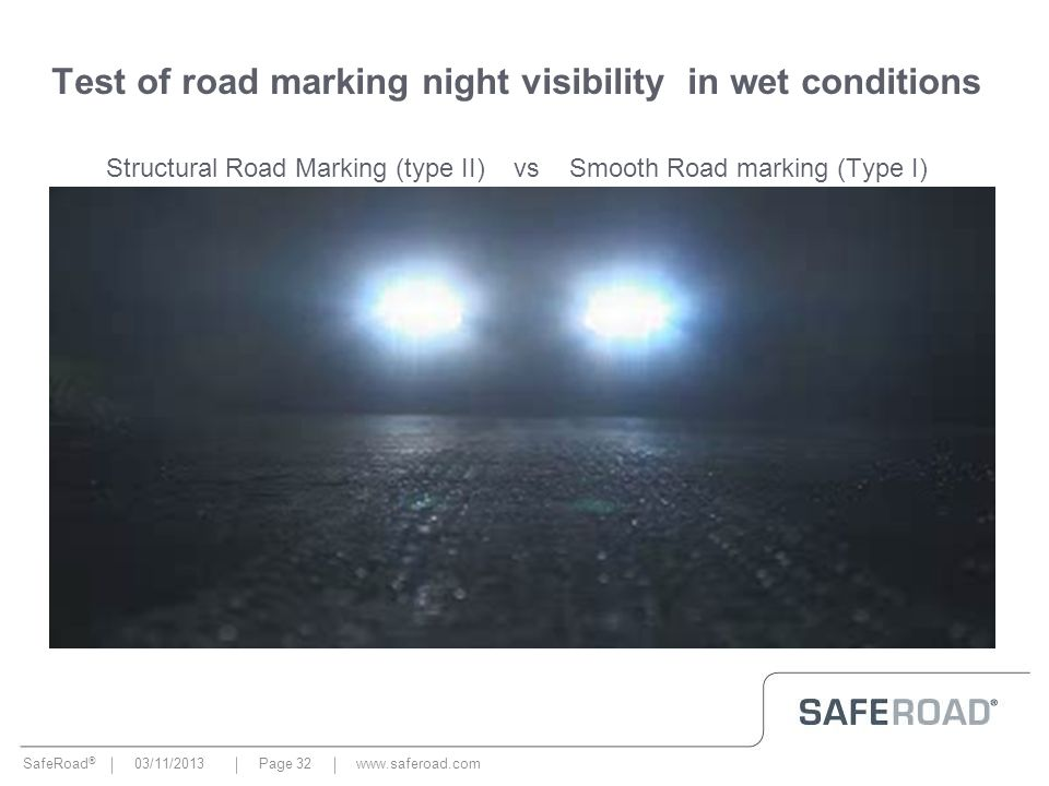 SafeRoad ® 03/11/2013Page 32 Test of road marking night visibility in wet conditions Structural Road Marking (type II) vs Smooth Road marking (Type I)