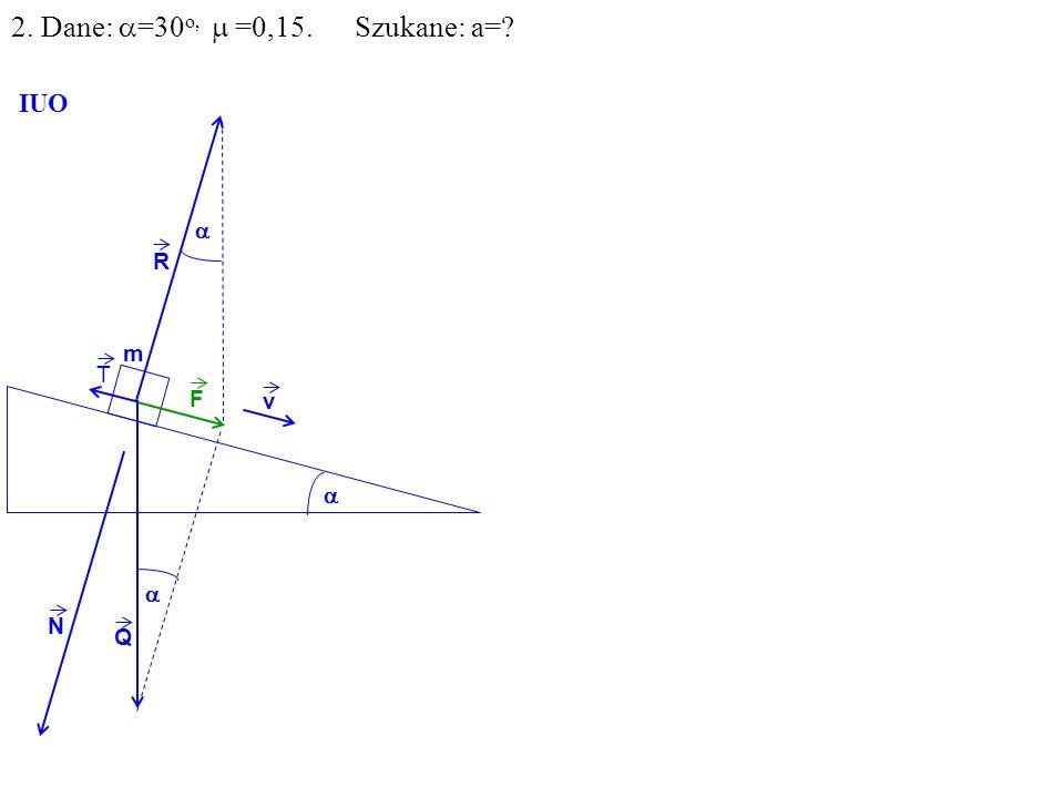 v Q R N F m IUO T 2. Dane: =30 o, =0,15. Szukane: a=?
