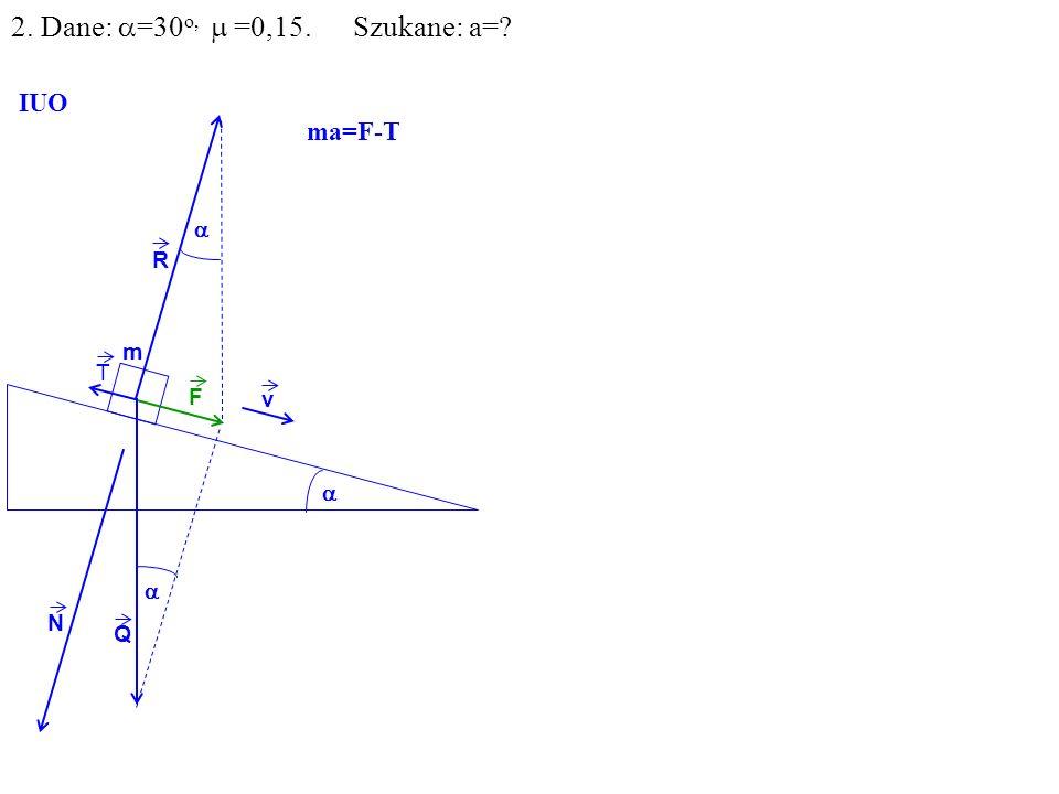 v Q R N F m IUO T ma=F-T 2. Dane: =30 o, =0,15. Szukane: a=