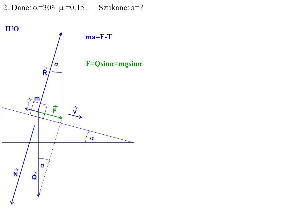 v Q R N F m IUO T ma=F-T F=Qsin =mgsin 2. Dane: =30 o, =0,15. Szukane: a=