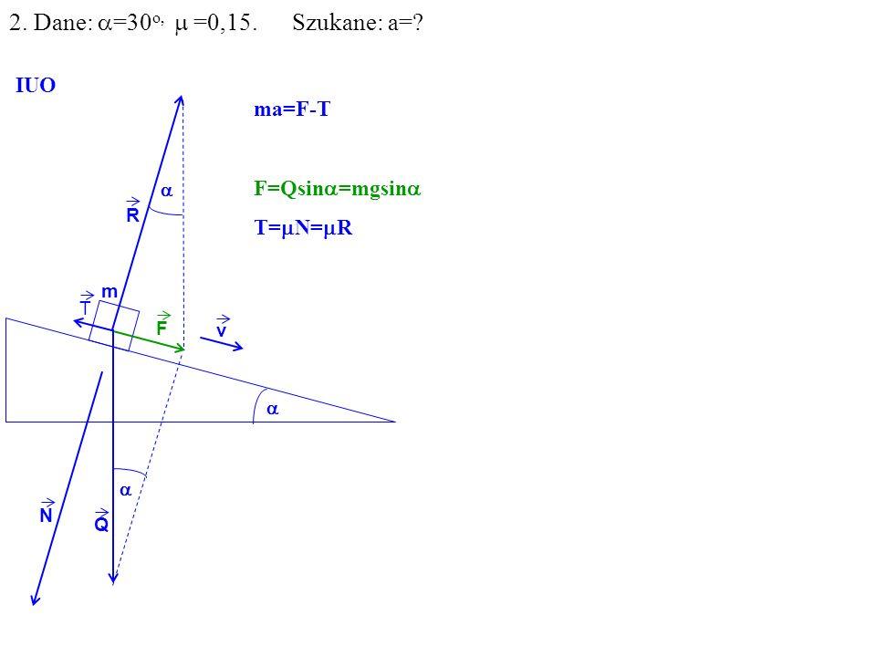 v Q R N F m IUO T ma=F-T F=Qsin =mgsin T= N= R 2. Dane: =30 o, =0,15. Szukane: a=