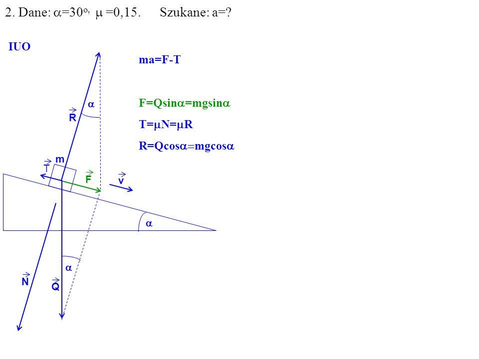 v Q R N F m IUO T ma=F-T F=Qsin =mgsin T= N= R R=Qcos mgcos 2. Dane: =30 o, =0,15. Szukane: a=