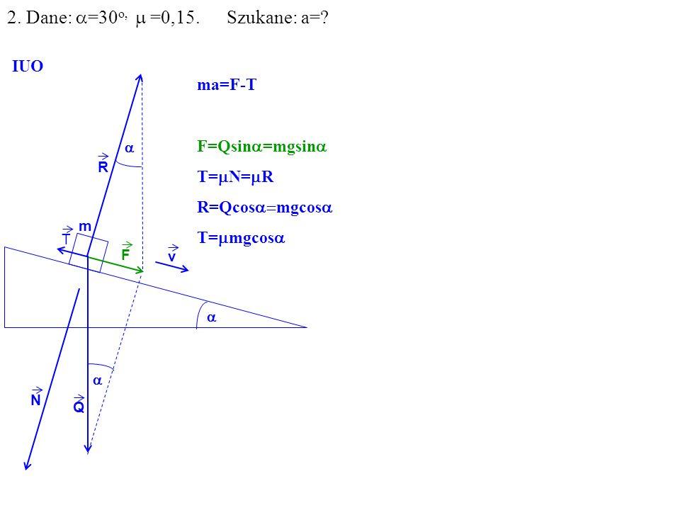 v Q R N F m IUO T ma=F-T F=Qsin =mgsin T= N= R R=Qcos mgcos T= mgcos 2. Dane: =30 o, =0,15. Szukane: a=?