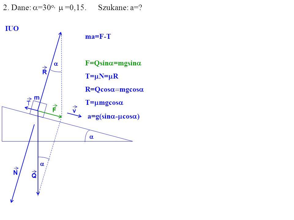 v Q R N F m IUO T 2. Dane: =30 o, =0,15. Szukane: a=? ma=F-T F=Qsin =mgsin T= N= R R=Qcos mgcos T= mgcos a=g(sin - cos )