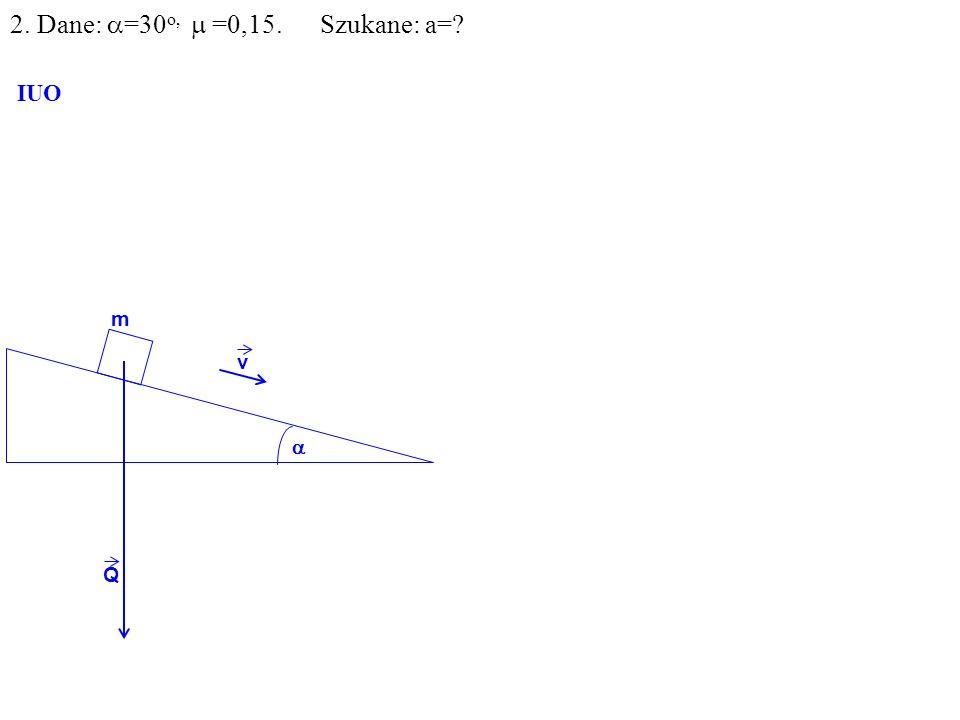 v Q R N F m IUO T ma=F-T F=Qsin =mgsin 2. Dane: =30 o, =0,15. Szukane: a=?
