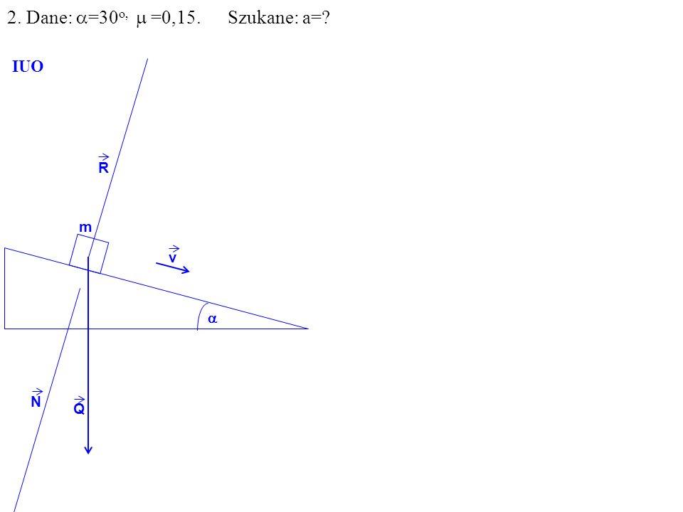 v Q R N F m IUO T ma=F-T F=Qsin =mgsin T= N= R R=Qcos mgcos 2. Dane: =30 o, =0,15. Szukane: a=?