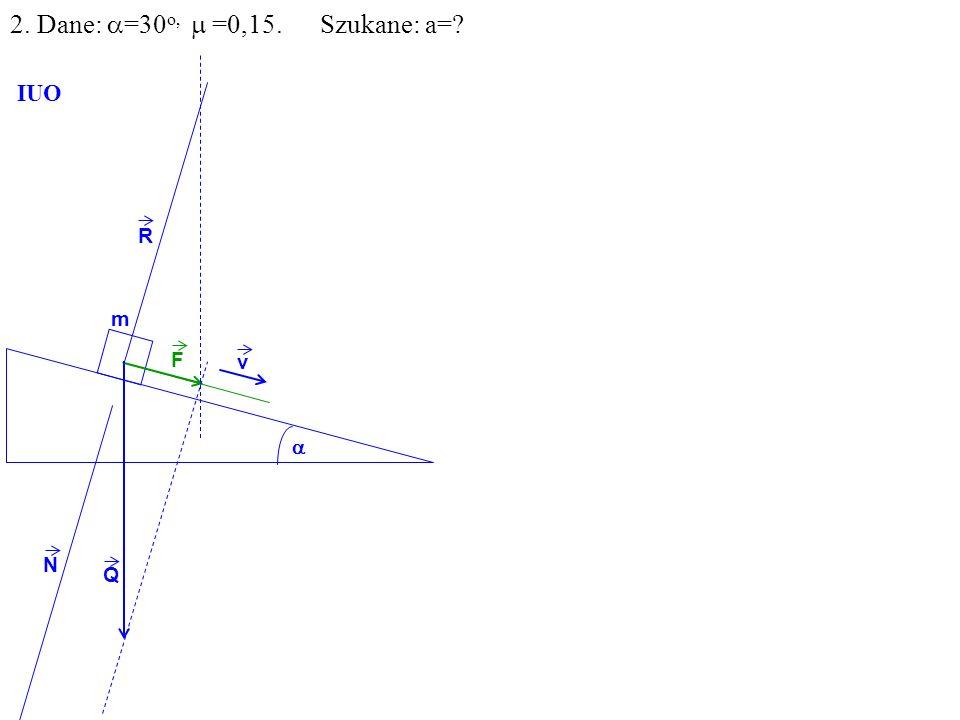 Q R N F m IUO v 2. Dane: =30 o, =0,15. Szukane: a=