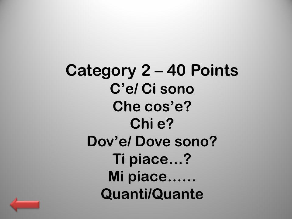 Category 2 – 40 Points Ce/ Ci sono Che cose. Chi e.