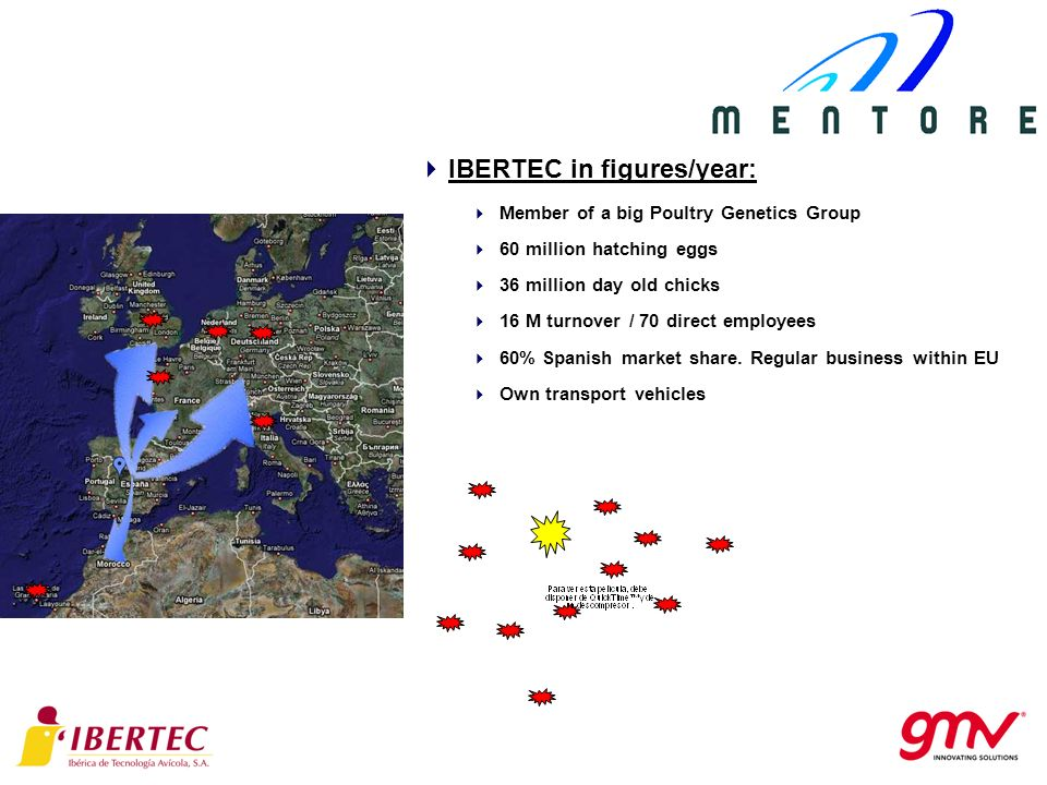 IBERTEC in figures/year: Member of a big Poultry Genetics Group 60 million hatching eggs 36 million day old chicks 16 M turnover / 70 direct employees 60% Spanish market share.