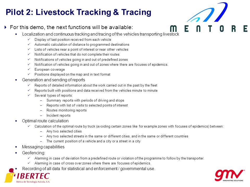 Pilot 2: Livestock Tracking & Tracing Previous Ibertecs website Interface Previous experiences: Innovation.