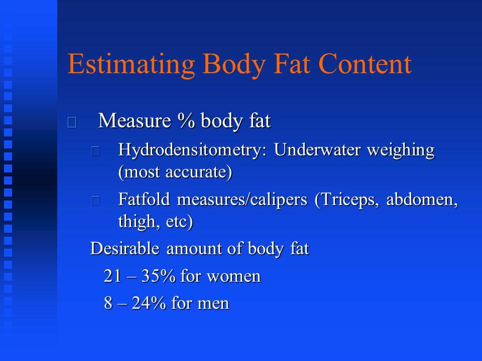 Estimating Body Fat Content Measure % body fat Measure % body fat Hydrodensitometry: Underwater weighing (most accurate) Hydrodensitometry: Underwater
