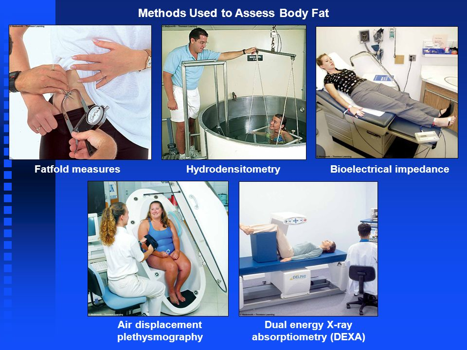 Methods Used to Assess Body Fat Bioelectrical impedanceFatfold measures Air displacement plethysmography Dual energy X-ray absorptiometry (DEXA) Hydro