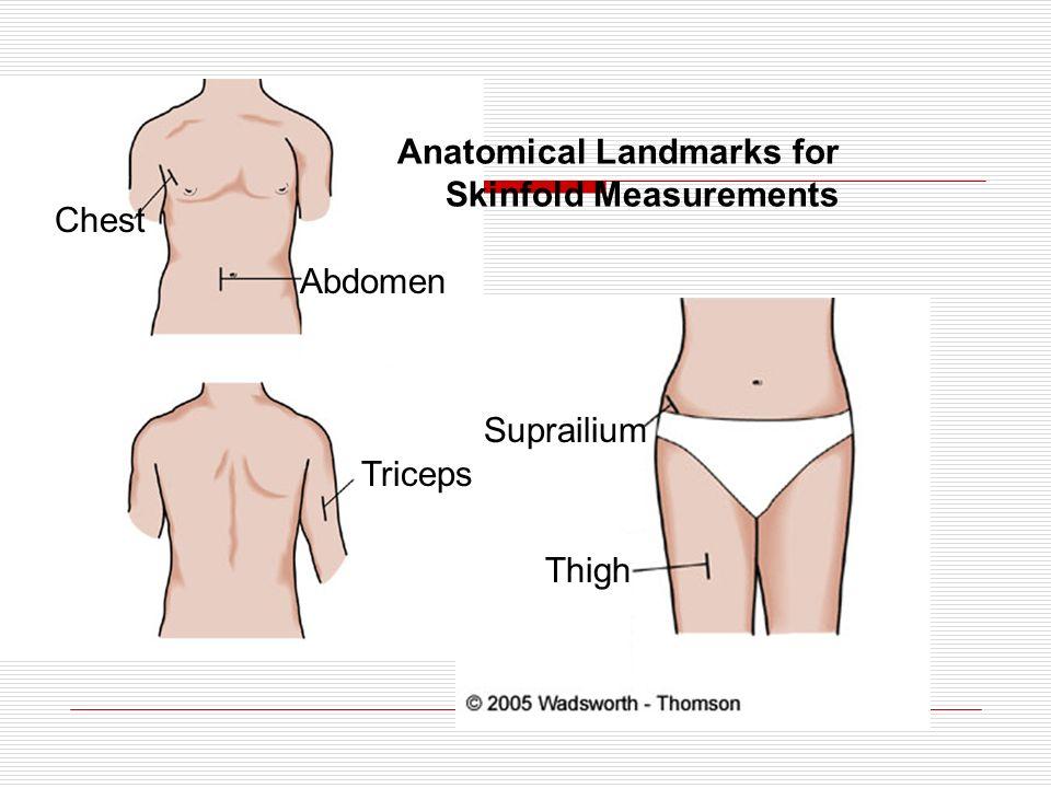 Anatomical Landmarks for Skinfold Measurements Chest Abdomen Triceps Suprailium Thigh