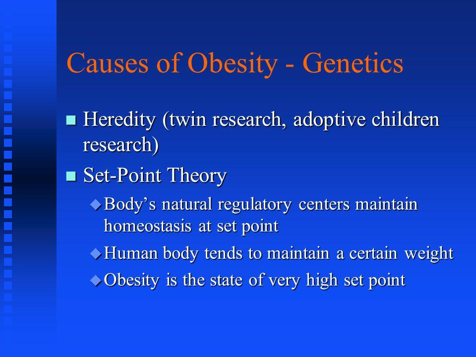 Causes of Obesity - Genetics Heredity (twin research, adoptive children research) Heredity (twin research, adoptive children research) Set-Point Theor