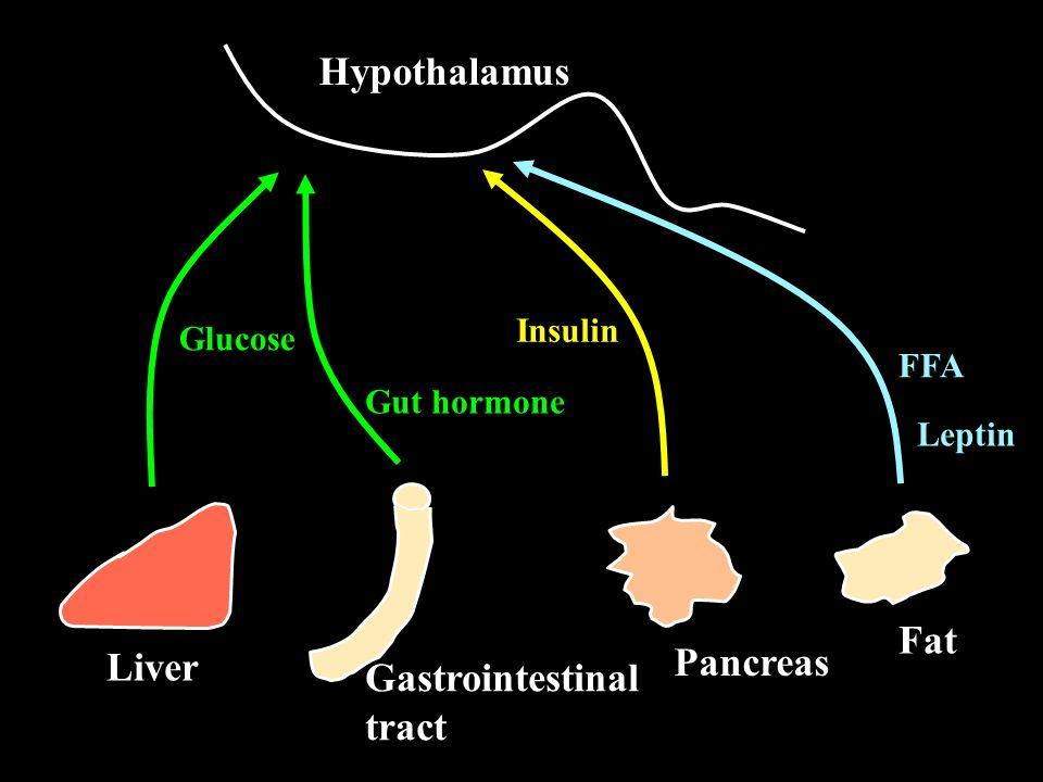 Modulators of feeding behavior Name Site of production Effect -melanocyte stimulating hormone ( -MSH) Hypothalamus Inhibition Agouti-related peptide (AGRP) Hypothalamus Stimulation Cocaine-amphetamine- regulated transcript (CART) Hypothalamus Inhibition Neuropeptide Y (NPY) Hypothalamus Stimulation Peptide YY (PYY) G-I tract Inhibition Ghrelin G-I tract Stimulation Insulin Pancreas Inhibition Leptin Adipose Inhibition