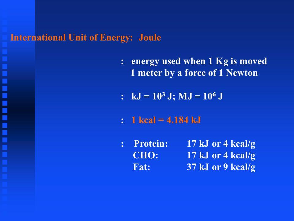 International Unit of Energy: Joule : energy used when 1 Kg is moved 1 meter by a force of 1 Newton : kJ = 10 3 J; MJ = 10 6 J : 1 kcal = 4.184 kJ : P